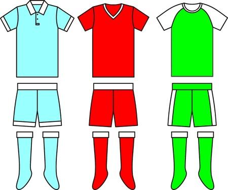 Different football Soccer uniforms. Vector illustration Vettoriali