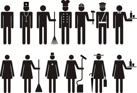 job occupation: Set of icons of figure silhouette people job occupation. Vector illustration