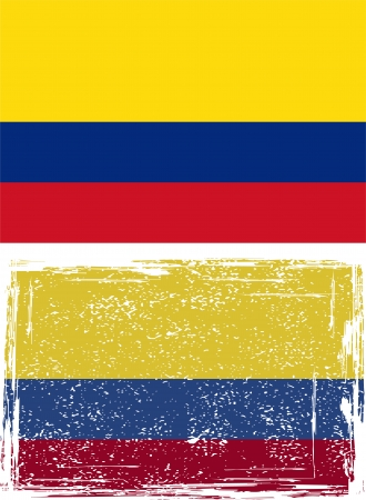 Colombian grunge flag. Vector illustration. Vector