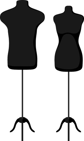 male model torso: Male and female empty mannequin torso template. Vector illustration