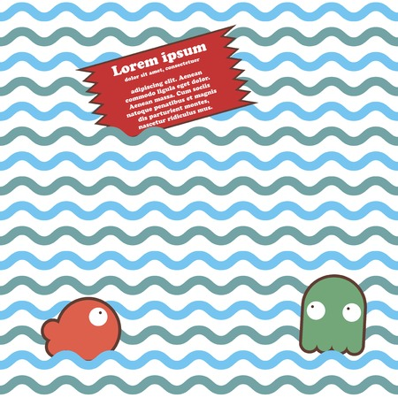Seamless marine wave pattern with fish, octopus and place for text. Vector illustration Vector
