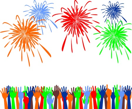 Abstract festive fireworks and hands background. Vector illustration Vector