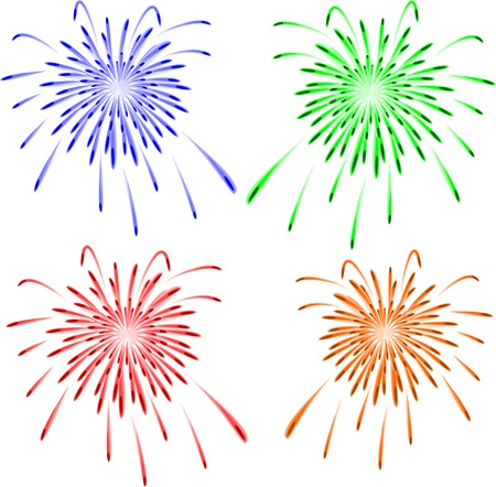 Brightly colorful vector fireworks on white. Vector illustration