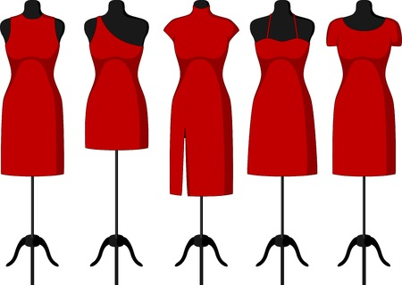 Different Cocktail and Evening Dresses on a mannequin. Vector illustration Illustration
