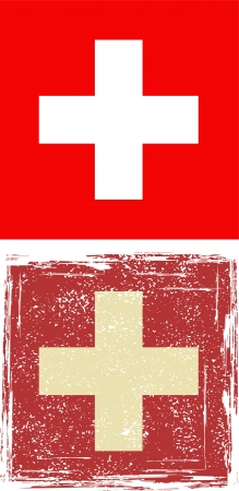 swiss flag: the Swiss grunge flag. Vector illustration. Illustration