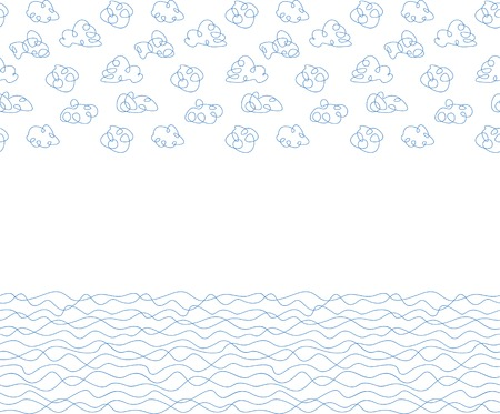 Seamless background, white clouds and waves. Vector illustration Vector