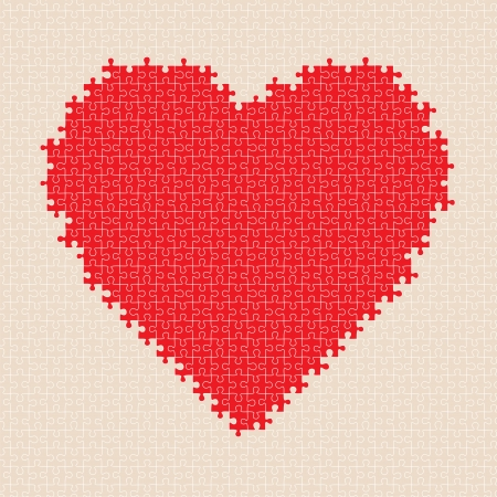 Puzzle heart pattern  illustration Vector