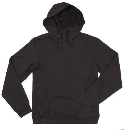sudadera: Hoodie negro aislado en blanco