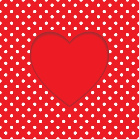 Card with heart shape on Polka dot. Valentines Day. illustration Vector