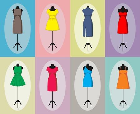 Different vintage dresses on a mannequin.  illustration Vector