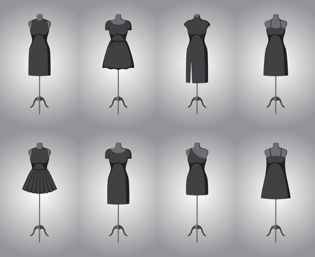 black woman: Set of woman little black dresses. illustration