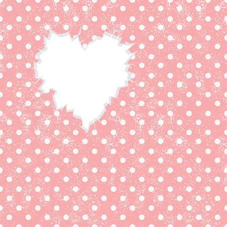 Hole in heart shape on Polka dot  Vector