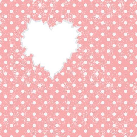 Hole in heart shape on Polka dot  Vector