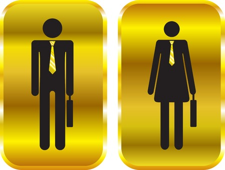 compliant: Businessman and businesswoman golden signs.