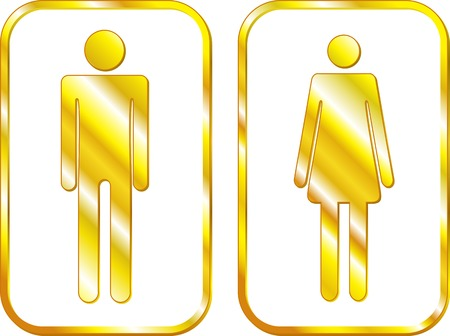compliant: Man and Woman restroom golden signs.