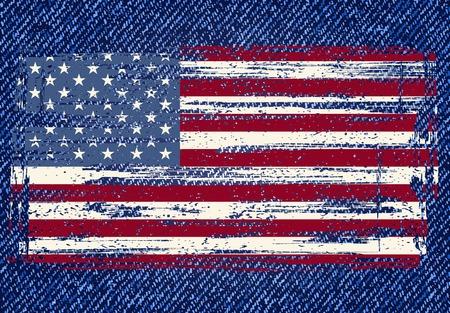 blue jeans: Grunge American flag on jeans Illustration