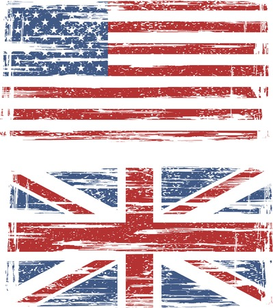 British and American grunge flags. illustration