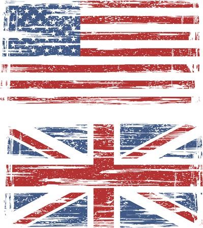 bandiera inglese: Bandiere grunge inglesi e americani. illustrazione