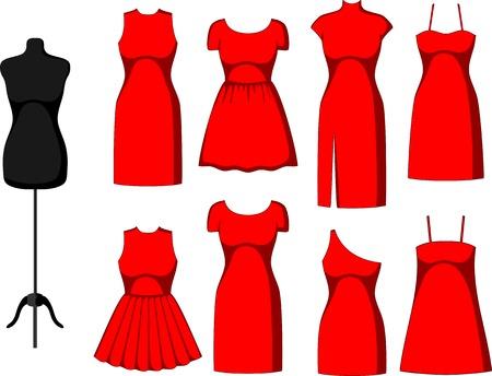 vestidos antiguos: Diferentes cóctel y vestidos de noche y maniquí. Ilustración vectorial