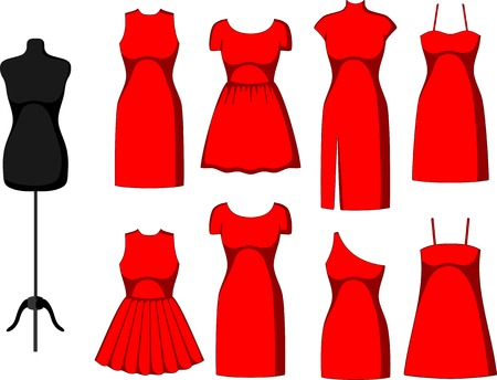 dress form: Different Cocktail and Evening Dresses and mannequin. Vector illustration