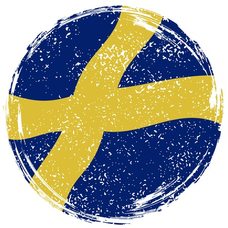 Swedish grunge flag. Grunge effect can be cleaned easily. illustration.