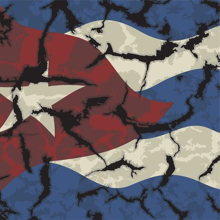 cleaned: Cuban grunge flag. Grunge effect can be cleaned easily. illustration.