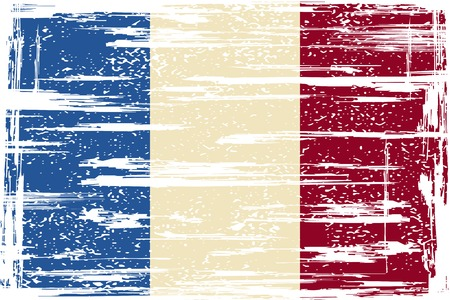 cleaned: French grunge flag. Grunge effect can be cleaned easily. illustration. Illustration