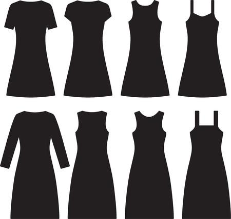 sexy black dress: Different women dresses. Vector illustration Illustration