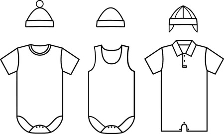 overall: Set of child baby wear. Vector illustration