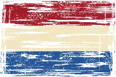 Dutch grunge flag. Vector illustration. Grunge effect can be cleaned easily. Vector