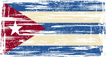 cuban flag: Cuban grunge flag. Vector illustration. Grunge effect can be cleaned easily.