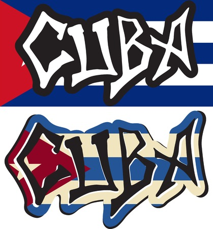 Cuba word graffiti different style. Vector illustration. Vector