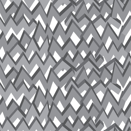 Black-white monochrome zigzag line seamless pattern. Vector illustration. Vector