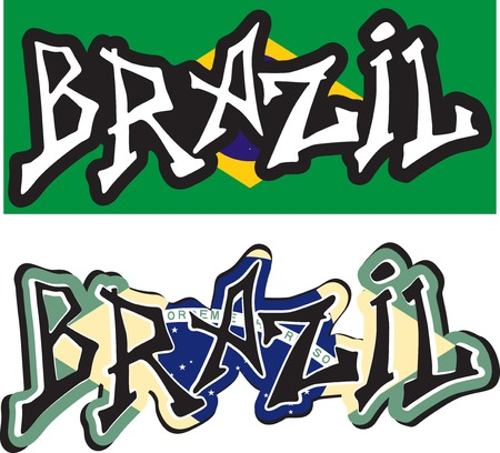 Brazil word graffiti different style. Vector illustration. Vector