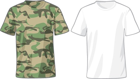 Mens White and Military Shirts front view template. Vector illustration Vector