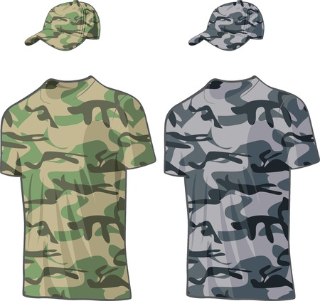 Military Shirts and caps templates. Vector illustration Vector