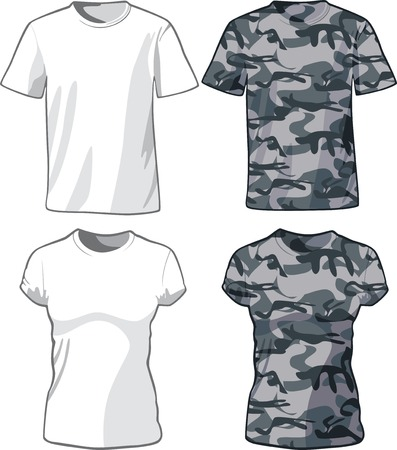 White and Military Shirts front view template. Vector illustration Vector