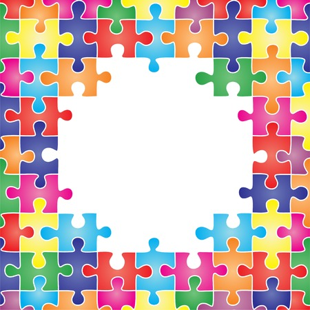 Colored frame made up of pieces of puzzle. Vector illustration Vector