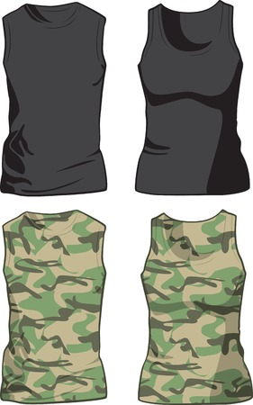tank top: Black and Military Shirts front view template  illustration Illustration