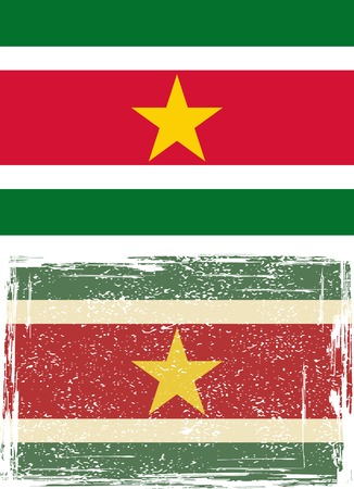 cleaned: Suriname grunge flag illustration  Grunge effect can be cleaned easily