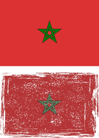 cleaned: Moroccan grunge flag illustration  Grunge effect can be cleaned easily