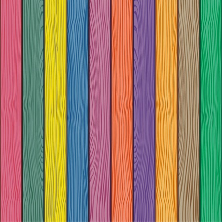 Colored old wooden fence background.  Vector