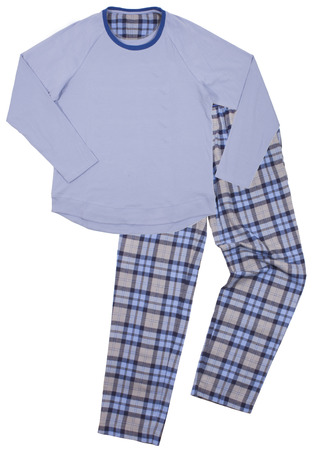 Blue childrens pajamas. Isolated on a white background photo