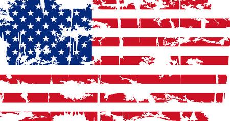 アメリカのグランジ フラグ。グランジ効果は簡単に洗浄することができます。ベクトルの図。