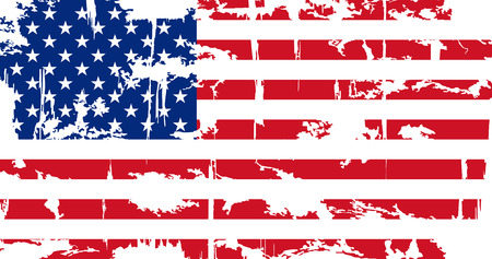 American grunge flag. Grunge effect can be cleaned easily. Vector illustration.