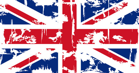 British grunge flag. Vector illustration. Grunge effect can be cleaned easily.