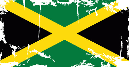 jamaican: Bandera del grunge de Jamaica. Ilustraci�n del vector. Efecto de grunge puede limpiarse f�cilmente.