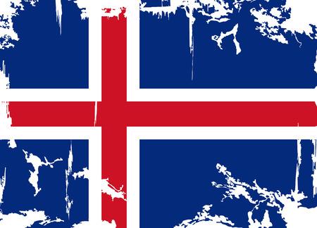 cleaned: Icelandic grunge flag  Vector illustration  Grunge effect can be cleaned easily  Illustration