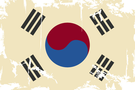 cleaned: South Korean grunge flag  Vector illustration  Grunge effect can be cleaned easily