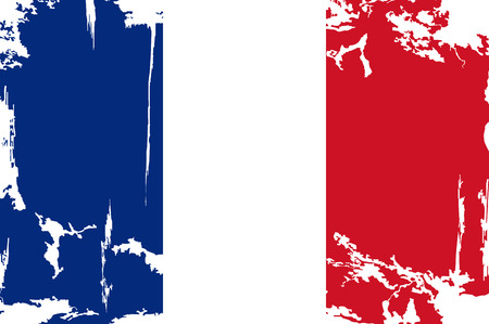 French grunge flag. Vector illustration. Grunge effect can be cleaned easily. Vector